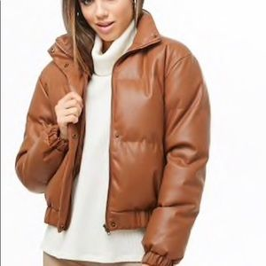Faux Leather Puffer Jacket Forever 21